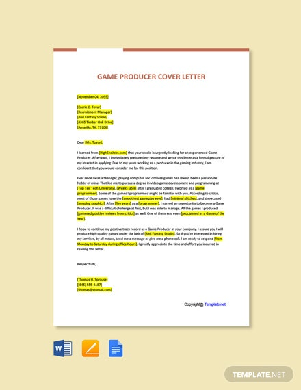 Free Game Producer Cover Letter Template
