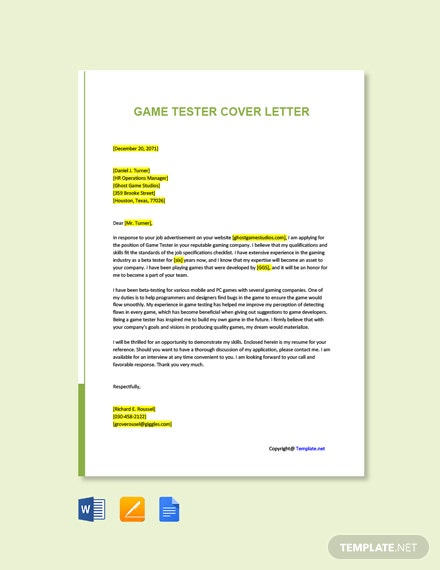 Free Game Tester Cover Letter Template