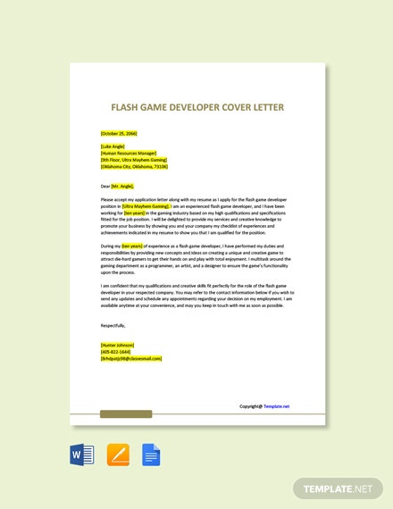 Free Flash Game Developer Cover Letter Template