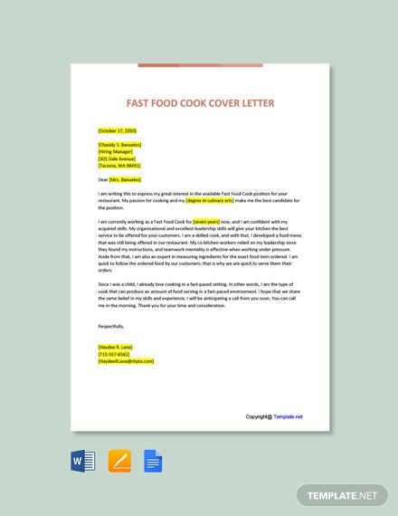 Free Fast Food Cook Cover Letter Template