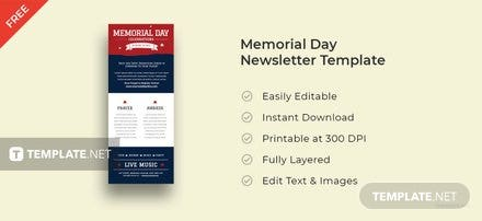 Memorial Day Newsletter Template
