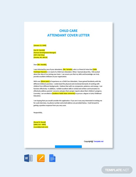 Free Child Care Attendant Cover Letter Template