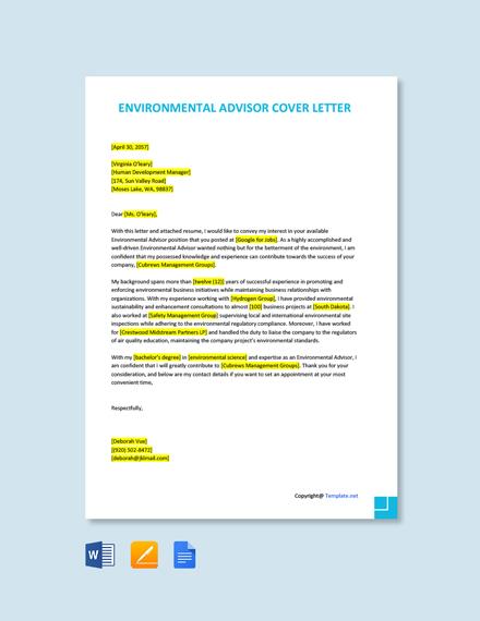 Free Environmental Advisor Cover Letter Template