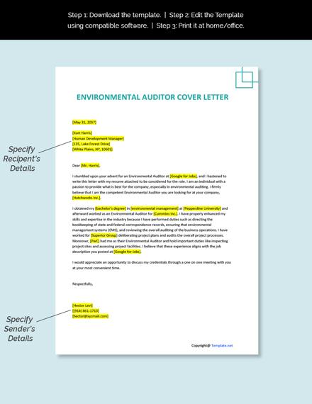 Environmental Auditor Cover Letter Template