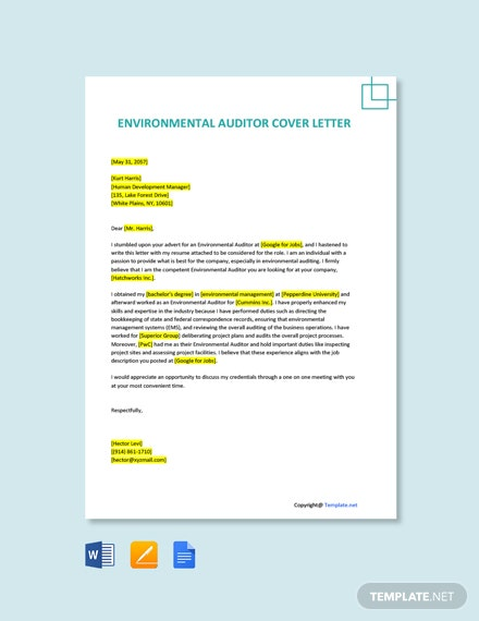 Free Environmental Auditor Cover Letter Template