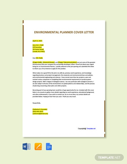 Free Environmental Planner Cover Letter Template