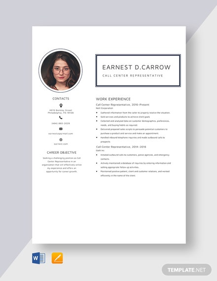 Call Center Representative Resume Template