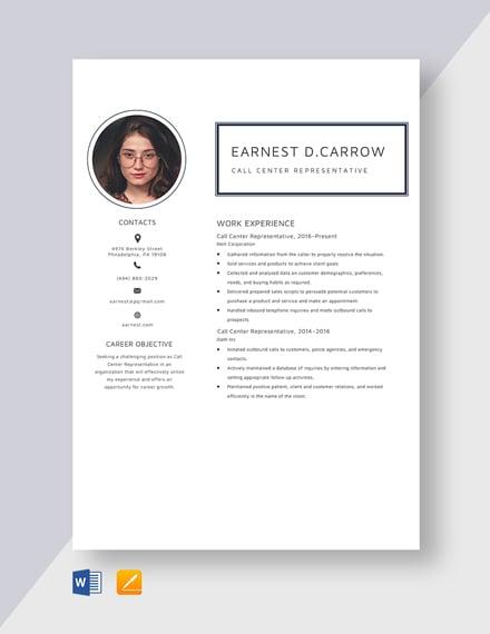 Call Center Representative Resume Template