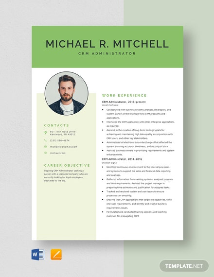 CRM Administrator Resume Template