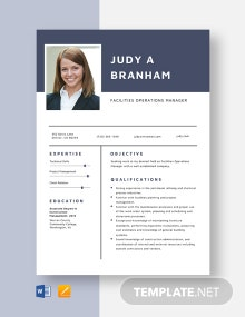 Facilities Operations Manager Resume Template