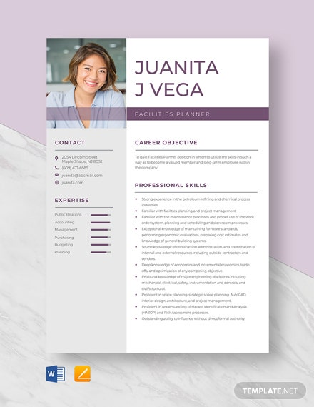 Free Facilities Planner Resume Template