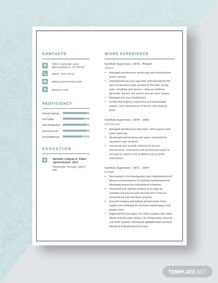 Facilities Supervisor Resume Template
