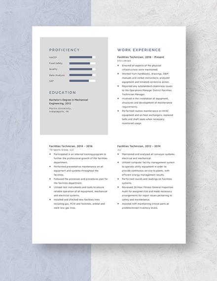 Facilities Technician Resume Template