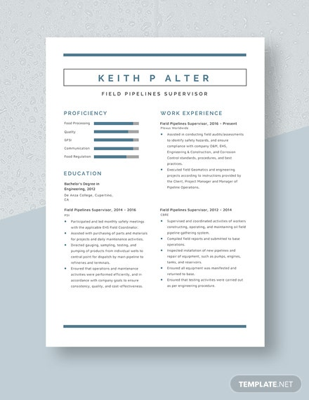 Field Pipelines Supervisor Resume Template