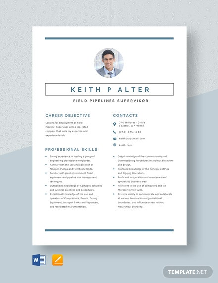 Free Field Pipelines Supervisor Resume Template