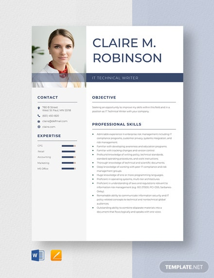 IT Technical Writer Resume Template