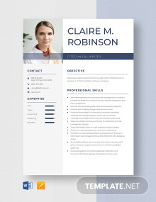 Free IT Technical Writer Resume Template