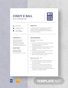 Free Math Instructor Resume Template