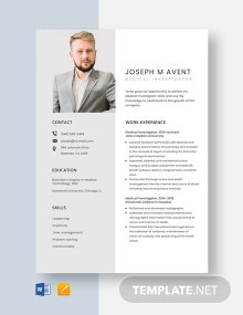 Medical Investigator Resume Template