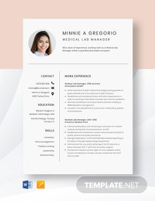 Medical Lab Manager Resume Template