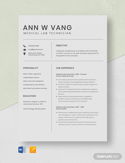 Medical Lab Technician Resume Template