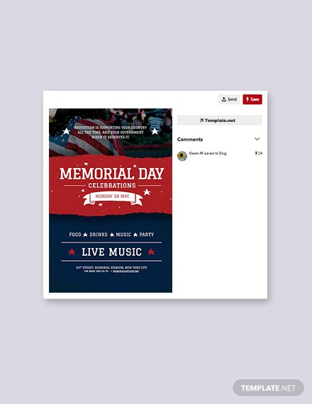 Free Memorial Day Pinterest Pin Template