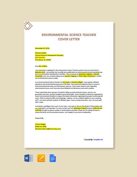 Environmental Science Teacher Cover Letter