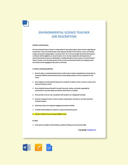 Free Environmental Science Teacher Job Ad/Description Template