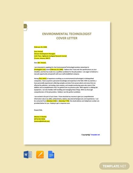Free Environmental Technologist Cover Letter Template