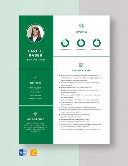 Health Care Analyst Resume