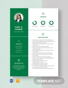 Health Care Analyst Resume Template