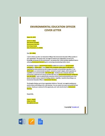 environmental education officer cover letter template