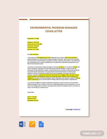 Free Environmental Program Manager Cover Letter Template