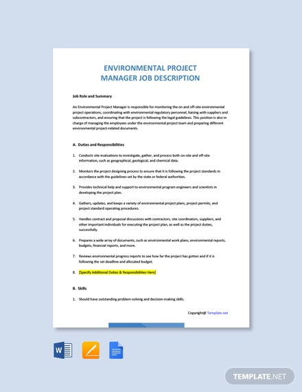 Free Environmental Project Manager Job Ad/Description Template