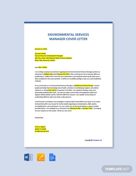 Environmental Services Manager Cover Letter Template