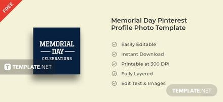 Memorial Day Pinterest Profile Photo Template