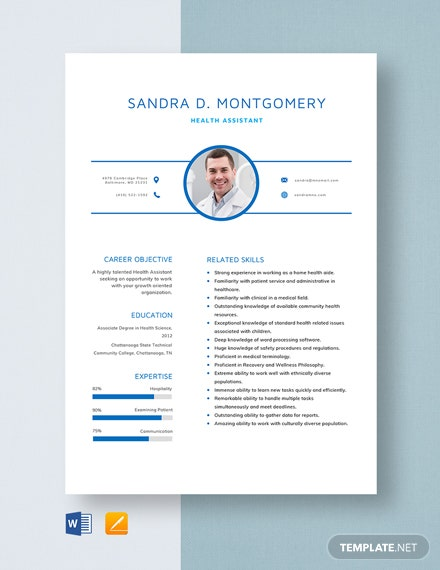 Health Assistant Resume Template