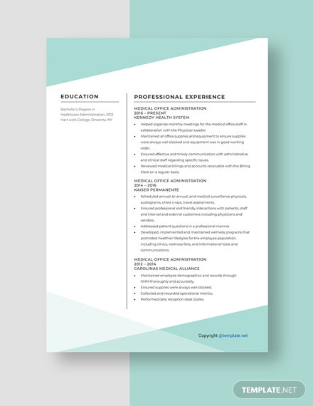Medical Office Administration ResumeTemplate