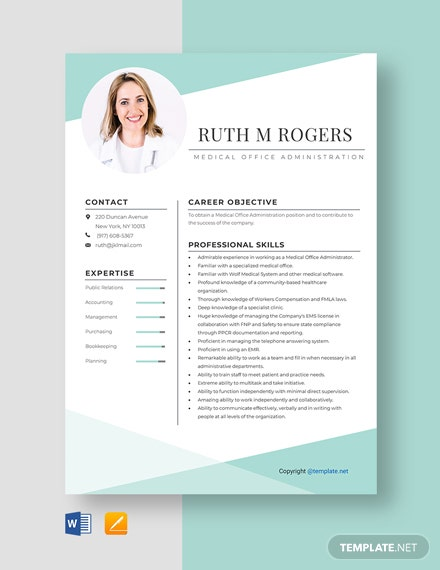 Free Medical Office Administration Resume Template