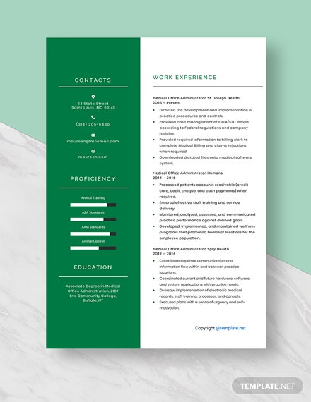 Medical Office Administrator Resume Template