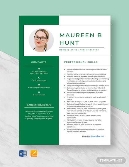 Free Medical Office Administrator Resume Template