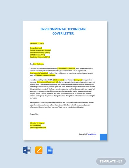 Free Environmental Technician Cover Letter Template