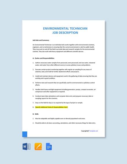 Free Environmental Technician Job Ad/Description Template