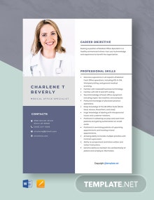 Free Medical Office Specialist Resume Template