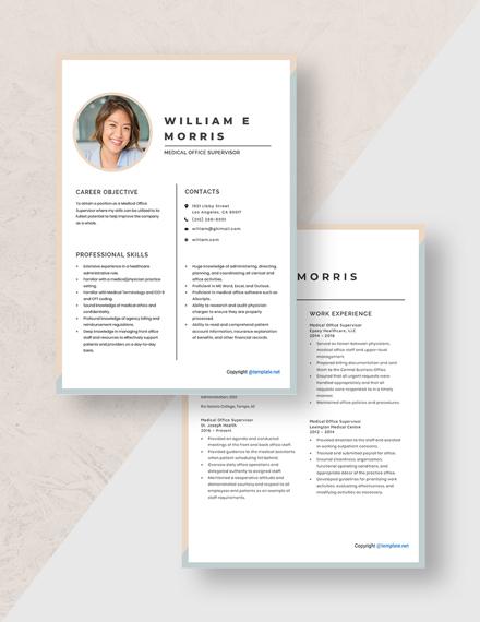 Medical Office Supervisor Resume Download