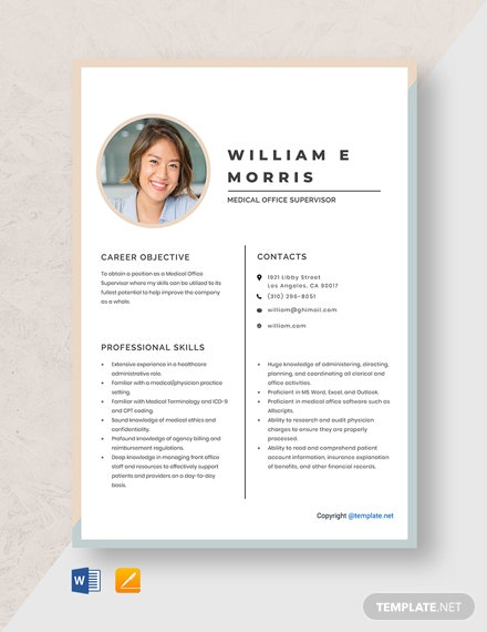 Free Medical Office Supervisor Resume Template