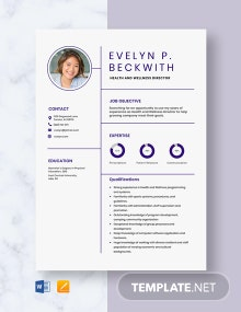 Health And Wellness Director Resume Template