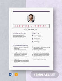 Medical Officer Resume Template