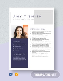 Medical Photographer Resume Template