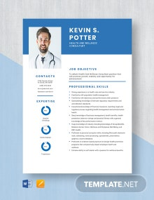 Health And Wellness Consultant Resume Template